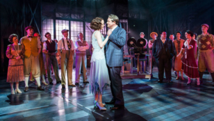 Michael Ball (Mack Sennett), Rebecca LaChance (Mabel Normand) and company in Chichester Festival Theatre's production of Mack and Mabel. Credit: Photo by Manuel Harlan.