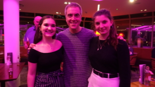 James Nesbitt with two YCC members at a party