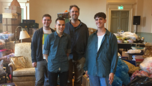 YCC members with director of THE HOUSE THEY GREW UP IN Jeremy Herrin after watching rehearsals.