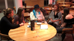 YCC members chat to Ian Mckellan following a performance of KING LEAR.
